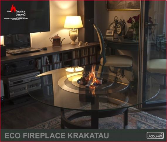 Krakatu - biokominek i stolik kawowy, szkło, nowoczesny