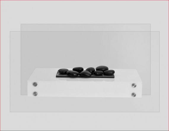 Gede 90 - biokominek wolnostojący z szybą, kolor biały