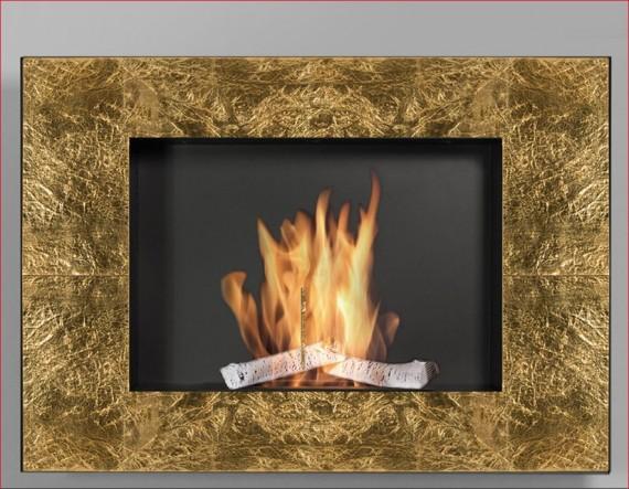 Wezuwiusz Gold 24 - biokominek do zabudowy, wiszący, dekoracyjny, złoto