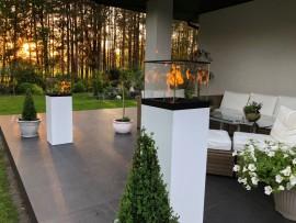 Vulcano 1100 biały - biokominek wolnostojący, taras, ogród