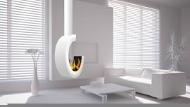 Erta 80 3/4 Symmetric Tube sufit biały - biokominek nowoczesny, półokrągły, wiszący