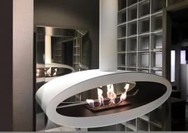 Meru Tube White - biokominek nowoczesny, sufitowy, owalny, do salonu