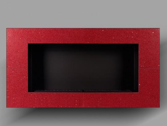 Acara - biokominek do zabudowy, czerwony, kamień naturalny Quartz Red