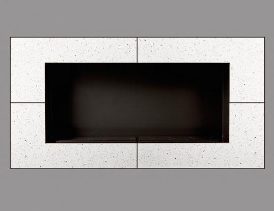 Acara - biokominek do zabudowy, biały, kamień naturalny Quartz White