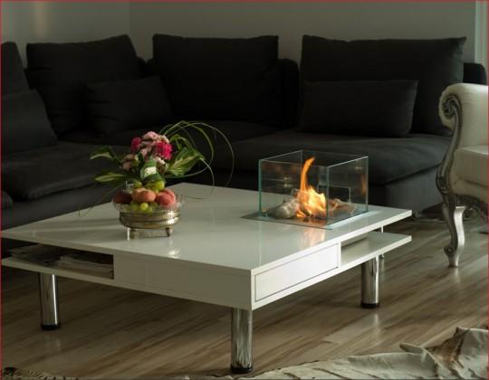 Hekla - biokominek ze stolikiem, biały, nowoczesny