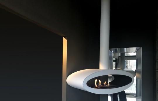 Meru Tube - biokominek nowoczesny, sufitowy, owalny, biały