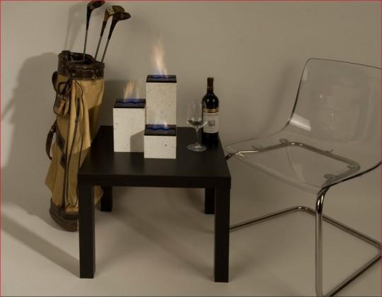 Ketoi Group - biokominek mały, kamień biały, przenośny, na stół, komodę lub taras