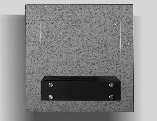 Marapi - biokominek ścienny z szybą, z kamienia naturalnego Quartz Grey