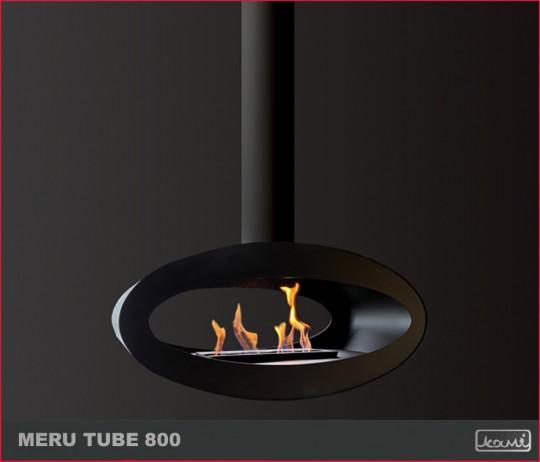 Meru Tube 800 - biokominek nowoczesny, sufitowy, owalny, do salonu