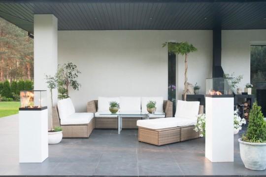 Vulcano 800 biały - biokominek stojący, taras, ogród