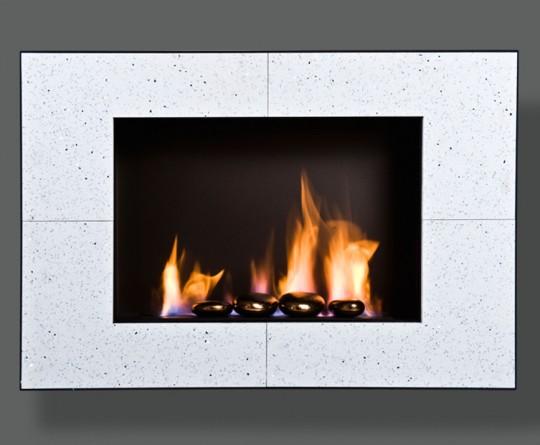 Wezuwiusz Slim, biały, kamień naturalny Quartz White - biokominek wiszący, do zabudowy